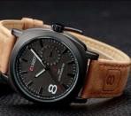 Мужские наручные часы с кожаным ремешком